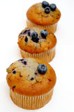 Muffins With Blueberries. Three blueberry muffins with fresh berries on top on a light colored background Stock Images