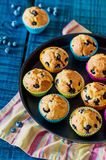 Muffins with blueberries. Summer dessert on a blue wood background Stock Images