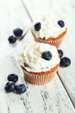 Muffins with blueberries and white cream on wooden background Royalty Free Stock Images