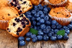Muffins with blueberry Stock Photo