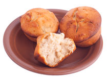 Muffins on brown saucer Royalty Free Stock Photos