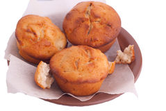 Muffins on brown saucer Royalty Free Stock Photography
