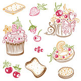 Muffins, cakes, donuts Royalty Free Stock Photos