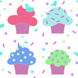 Muffins cakes sweets confectionary seamless pattern Royalty Free Stock Images