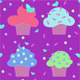Muffins cakes sweets confectionary seamless pattern Stock Image