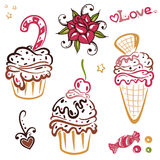 Muffins, cakes Stock Images