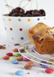 Muffins with cherries Royalty Free Stock Image