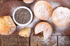 Muffins with chia seeds stock photos