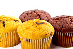 Muffins with chocolate chips. Four  Muffin with chocolate chips Stock Photography