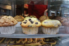 Muffins. Chocolate muffin, white muffin, sweet muffin Stock Images