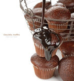 Muffins with chocolate sauce Stock Image