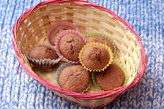 Muffins with chocolate. Some homemade muffins of wheat flour with chocolate royalty free stock photography