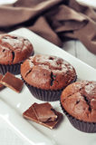 Muffins with chocolate Stock Photo