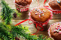 Muffins with cinnamon and colorful topping Royalty Free Stock Photography