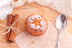 Muffins with cinnamon and icing sugar Stock Image