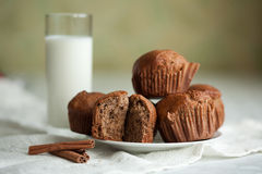 Muffins with cinnamon and nuts Royalty Free Stock Image
