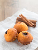 Muffins and Cinnamon. Muffins with poppy stuffing and cinnamon Royalty Free Stock Images