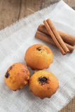 Muffins and Cinnamon sticks. Rustic composition Royalty Free Stock Photography