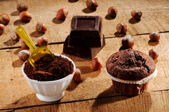Muffins and cocoa Stock Images
