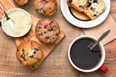 Muffins Coffee and Butter Stock Photography