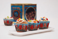 Muffins. With colorful chocolate decoration Royalty Free Stock Photography