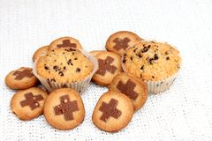 Muffins and cookies Stock Images