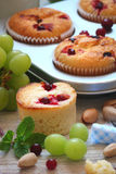 Muffins with cranberries, fruit and milk for Breakfast Stock Photo