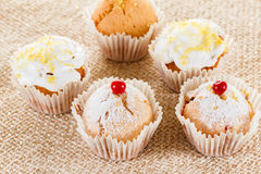 Muffins with cranberries and lemon zest, closeup royalty free stock images