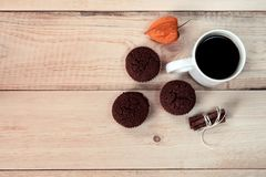 Muffins with cup of cooffee. royalty free stock photography
