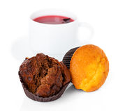 Muffins and a cup of tea Stock Photography