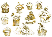 Muffins - cupcakes. Muffins, cupcakes. Positive sweet image in vintage processing Stock Images