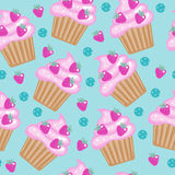 Muffins, cupcakes seamless pattern. Delicious Cake background, texture. Baby, Kids wallpaper. Vector illustration. Royalty Free Stock Photo