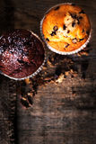 Muffins on dark background close up image, selective focus, macr Stock Images