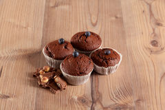 Muffins decorated with blueberries Royalty Free Stock Photo