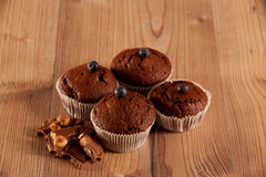 Muffins decorated with blueberries Stock Photo