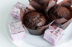 Muffins der süßen Schokolade Stockbild