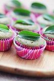 Muffins des grünen Tees Stockbilder