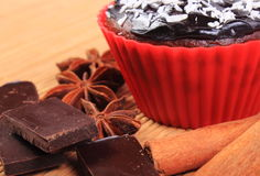 Muffins with desiccated coconut, chocolate, anise and cinnamon Stock Images