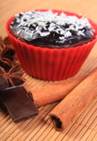 Muffins with desiccated coconut, chocolate, anise and cinnamon Stock Photo