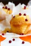 Muffins in document cupake houder met lingonderry Royalty-vrije Stock Fotografie