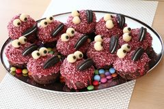 Monster muffins. Muffins dressed up as a monster family Royalty Free Stock Image