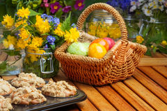 Muffins before Easter decoration. On wooden table Stock Images