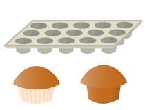Muffins en pan Royalty-vrije Stock Afbeeldingen