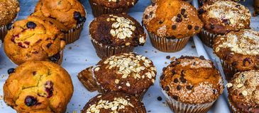 Muffins at the Farmer`s Market. An appetising assortment of freshly baked hot muffins for sale at an outdoor farmer`s market in Florida royalty free stock photo