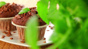 Muffins, fresh baked cupcakes stock footage