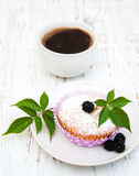 Muffins with fresh blackberries Stock Photo