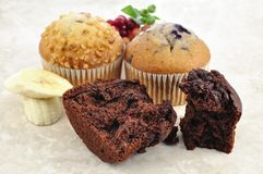 Muffins and fruits Royalty Free Stock Image