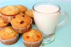Muffins and a glass of milk Royalty Free Stock Image