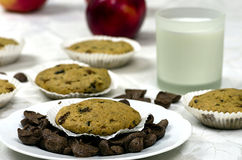 Muffins with a glass of milk Stock Images