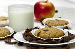 Muffins with a glass of milk Stock Photos